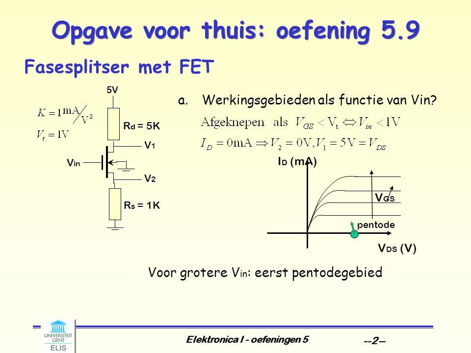 Elektronica I - oefeningen 5 --2-- Opgave voor thuis: oefening 5.9 Fasesplitser met FET a.Werkingsgebieden als functie van Vin.