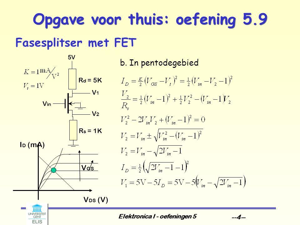 Elektronica I - oefeningen 5 --4-- Opgave voor thuis: oefening 5.9 Fasesplitser met FET V DS (V) I D (mA) V GS b.