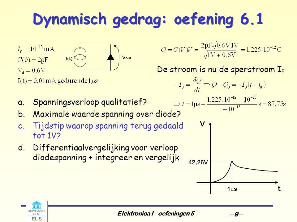 Elektronica I - oefeningen 5 --9-- Dynamisch gedrag: oefening 6.1 42,26V 1s1s V out I(t) a.Spanningsverloop qualitatief.