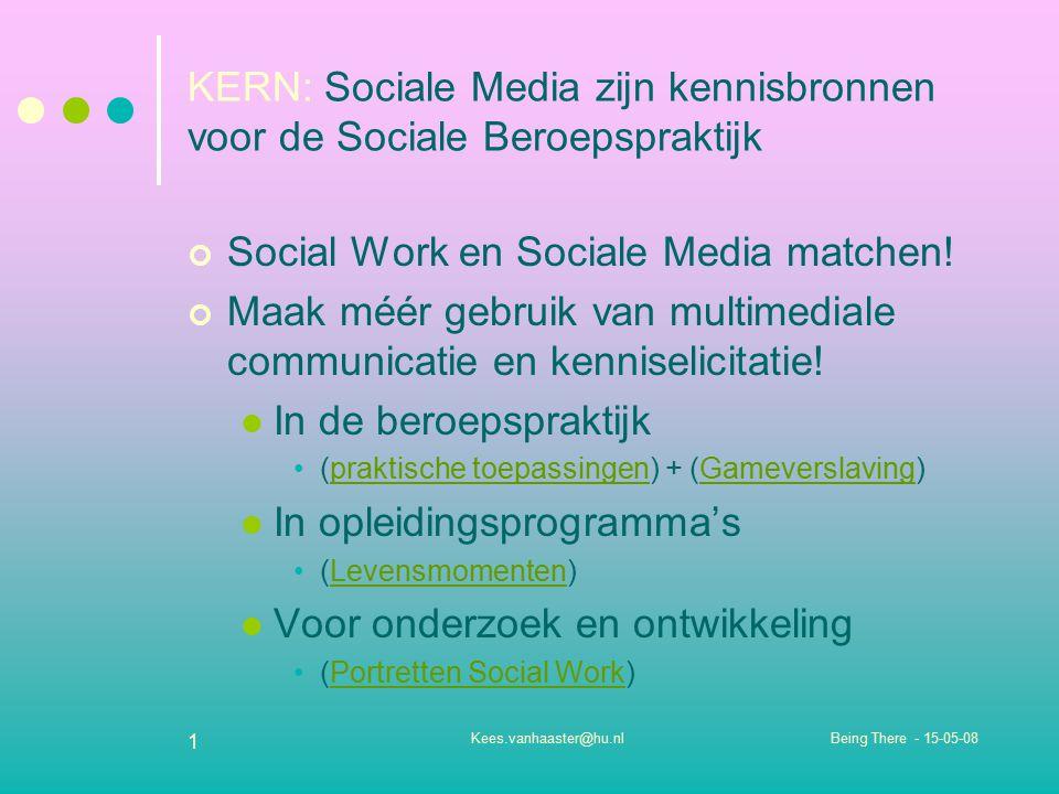 Being There - 15-05-08Kees.vanhaaster@hu.nl 1 KERN: Sociale Media zijn kennisbronnen voor de Sociale Beroepspraktijk Social Work en Sociale Media matc