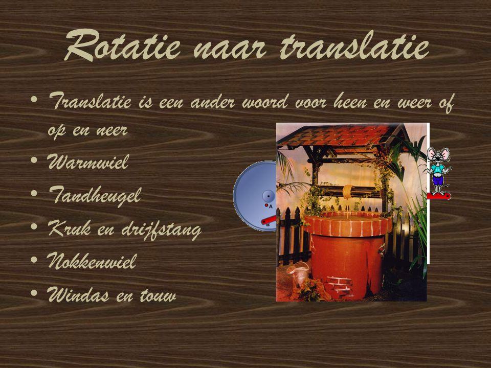 Rotatie naar translatie Translatie is een ander woord voor heen en weer of op en neer Warmwiel Tandheugel Kruk en drijfstang Nokkenwiel Windas en touw