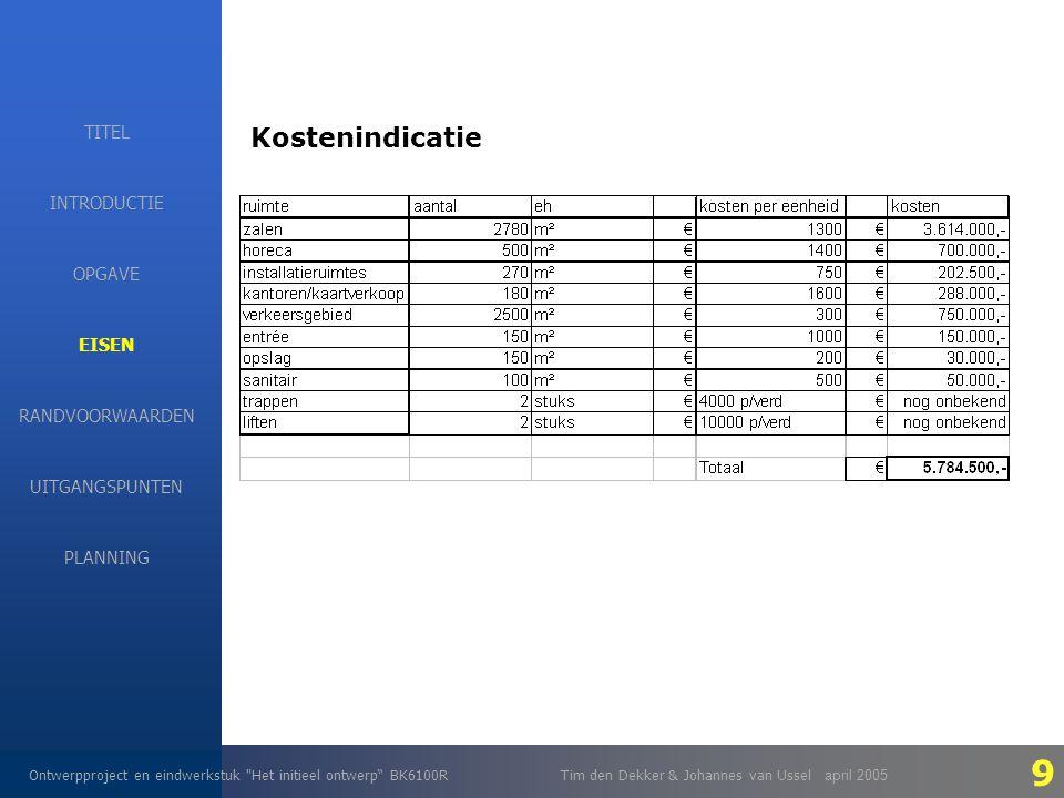 EISEN Ontwerpproject en eindwerkstuk Het initieel ontwerp BK6100RTim den Dekker & Johannes van Ussel april 2005 INTRODUCTIE EISEN RANDVOORWAARDEN OPGAVE UITGANGSPUNTEN PLANNING TITEL Kostenindicatie 9