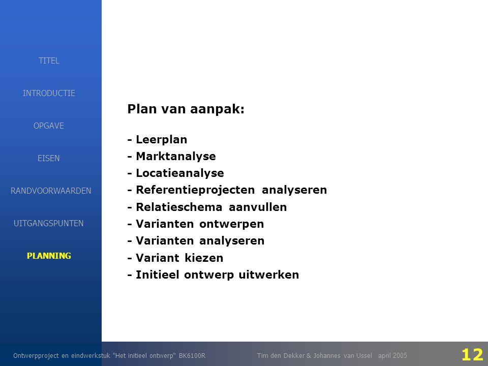 EISEN Ontwerpproject en eindwerkstuk Het initieel ontwerp BK6100RTim den Dekker & Johannes van Ussel april 2005 INTRODUCTIE EISEN RANDVOORWAARDEN OPGAVE UITGANGSPUNTEN PLANNING TITEL Plan van aanpak: - Leerplan - Marktanalyse - Locatieanalyse - Referentieprojecten analyseren - Relatieschema aanvullen - Varianten ontwerpen - Varianten analyseren - Variant kiezen - Initieel ontwerp uitwerken 12