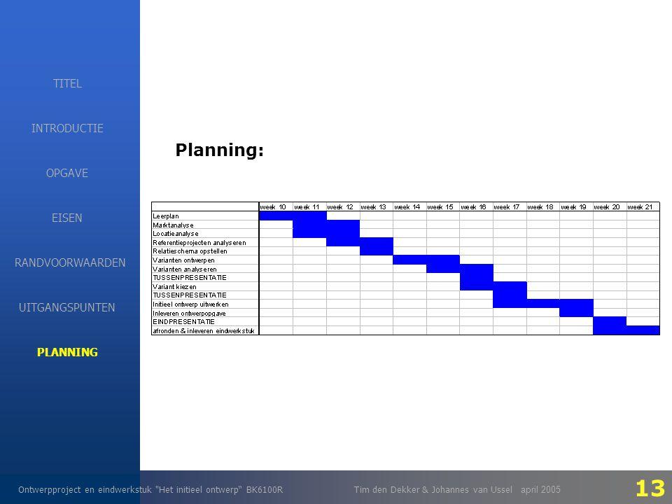 EISEN Ontwerpproject en eindwerkstuk Het initieel ontwerp BK6100RTim den Dekker & Johannes van Ussel april 2005 INTRODUCTIE EISEN RANDVOORWAARDEN OPGAVE UITGANGSPUNTEN PLANNING TITEL Planning: 13