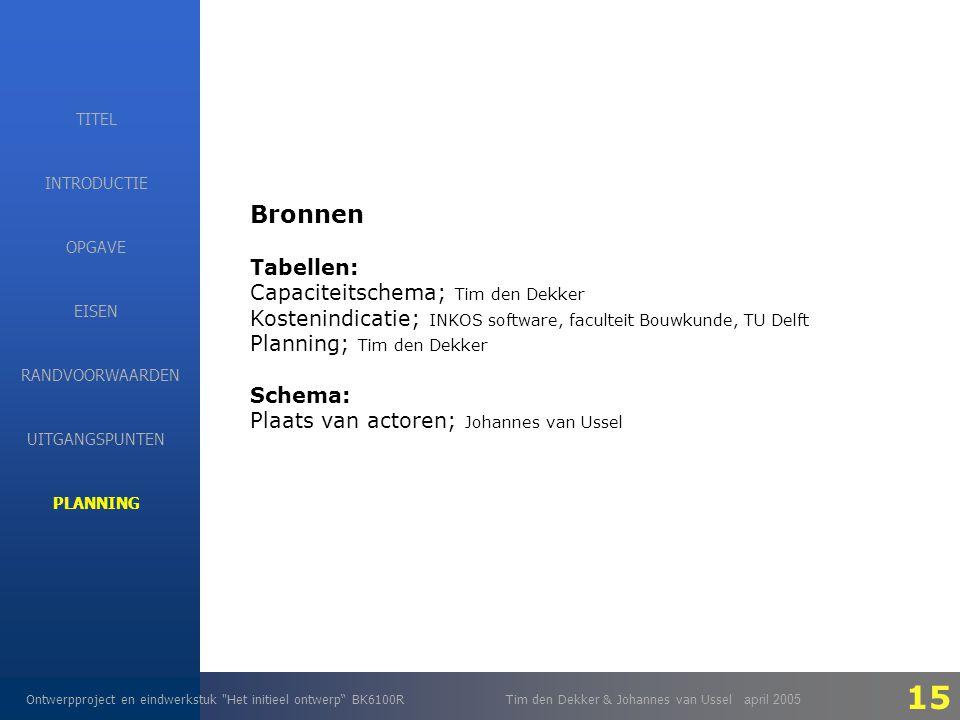 EISEN Ontwerpproject en eindwerkstuk Het initieel ontwerp BK6100RTim den Dekker & Johannes van Ussel april 2005 INTRODUCTIE EISEN RANDVOORWAARDEN OPGAVE UITGANGSPUNTEN PLANNING TITEL Bronnen Tabellen: Capaciteitschema; Tim den Dekker Kostenindicatie; INKOS software, faculteit Bouwkunde, TU Delft Planning; Tim den Dekker Schema: Plaats van actoren; Johannes van Ussel 15