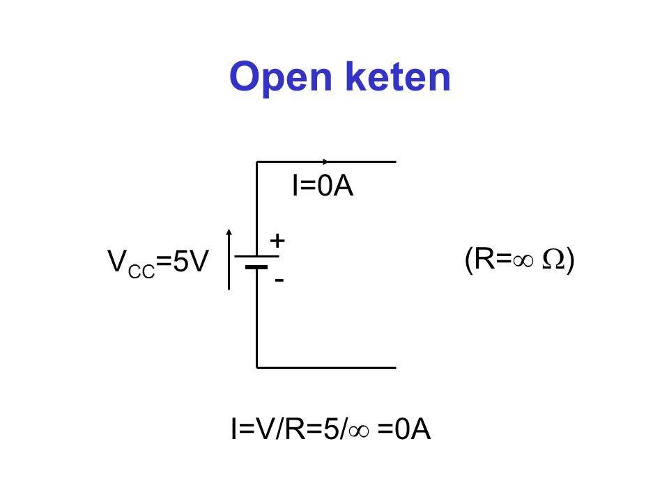 Kortsluiting + - V CC =5V I=  A (R=0  ) I=V/R=5/0 =  A