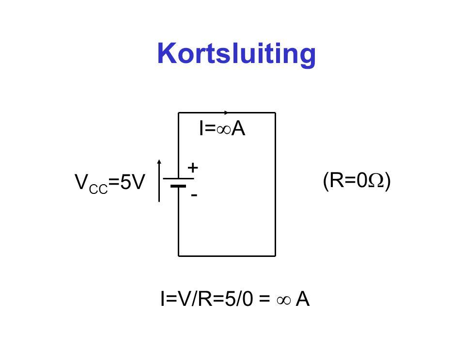 Spanningsdeler + - V CC =5V R 1 =6  R 2 =4  Totale weerstand (serie): R = 6  +4  = 10  Stroom: I = 5V/10  = 0,5 A I = 0,5A 3V 2V