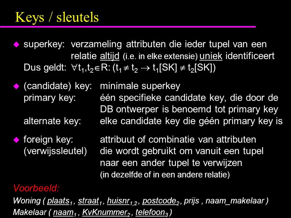 Keys / sleutels u superkey:verzameling attributen die ieder tupel van een relatie altijd (i.e.