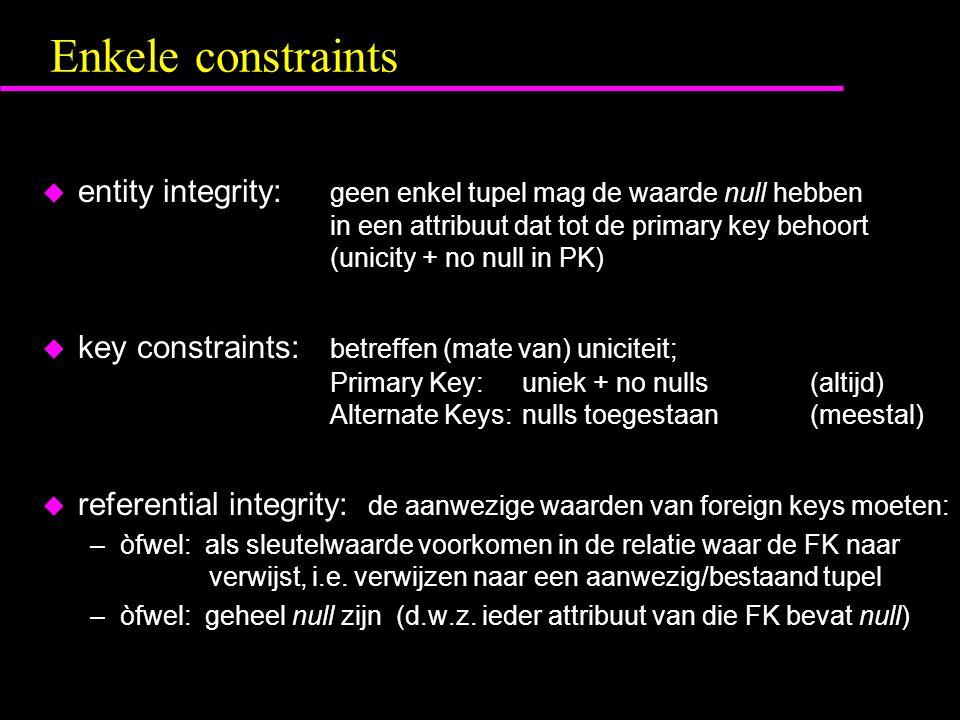 Enkele constraints u entity integrity: geen enkel tupel mag de waarde null hebben in een attribuut dat tot de primary key behoort (unicity + no null in PK) u key constraints: betreffen (mate van) uniciteit; Primary Key:uniek + no nulls(altijd) Alternate Keys:nulls toegestaan(meestal) u referential integrity: de aanwezige waarden van foreign keys moeten: –òfwel: als sleutelwaarde voorkomen in de relatie waar de FK naar verwijst, i.e.