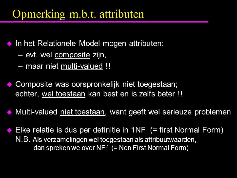 Opmerking m.b.t. attributen u In het Relationele Model mogen attributen: –evt.