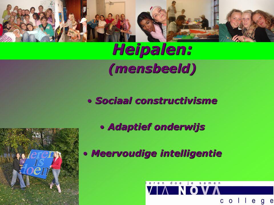 Heipalen:(mensbeeld) Sociaal constructivisme Sociaal constructivisme Adaptief onderwijs Adaptief onderwijs Meervoudige intelligentie Meervoudige intelligentie