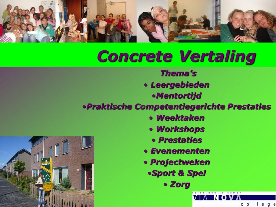 Concrete Vertaling Thema's Thema's Leergebieden Leergebieden MentortijdMentortijd Praktische Competentiegerichte PrestatiesPraktische Competentiegeric