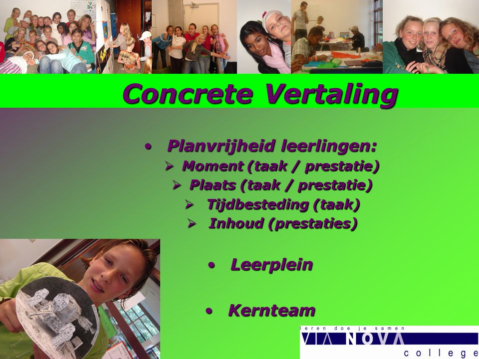 Concrete Vertaling Planvrijheid leerlingen: Planvrijheid leerlingen:  Moment (taak / prestatie)  Plaats (taak / prestatie)  Tijdbesteding (taak)  Inhoud (prestaties) Leerplein Leerplein Kernteam Kernteam