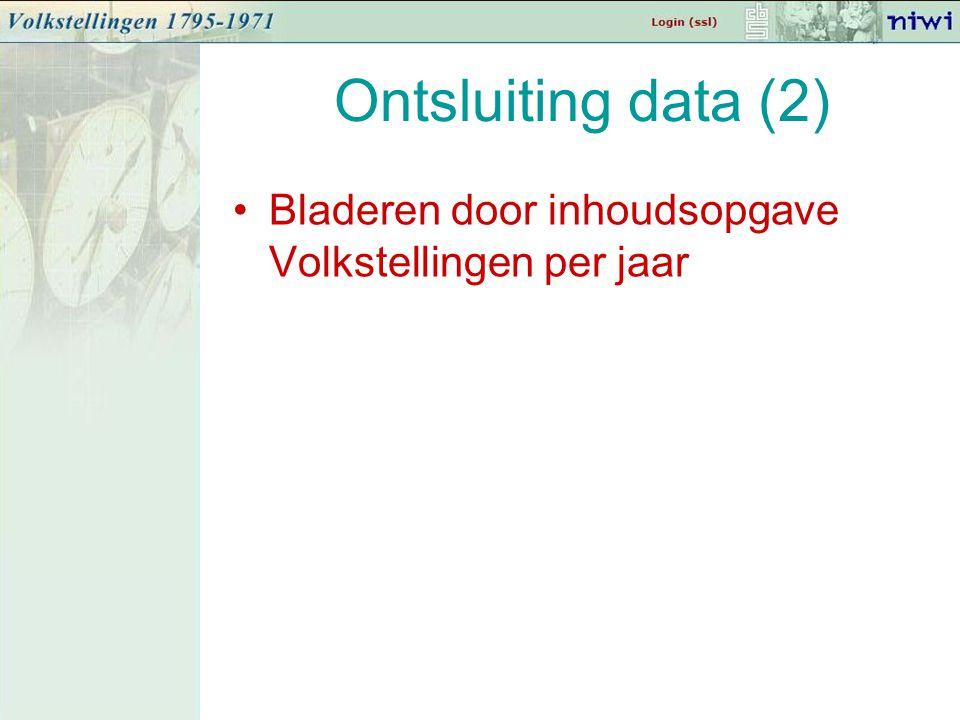 Ontsluiting data (2) Bladeren door inhoudsopgave Volkstellingen per jaar