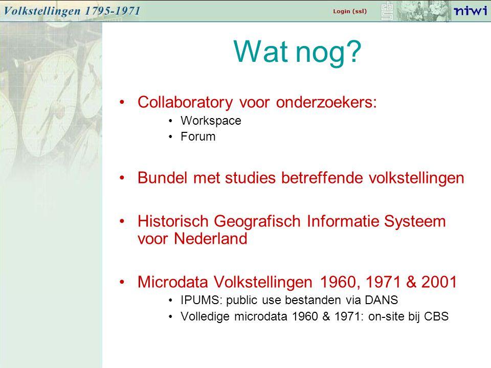 Wat nog? Collaboratory voor onderzoekers: Workspace Forum Bundel met studies betreffende volkstellingen Historisch Geografisch Informatie Systeem voor