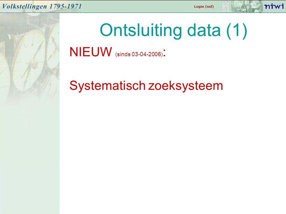 Ontsluiting data (1) NIEUW (sinds 03-04-2006) : Systematisch zoeksysteem