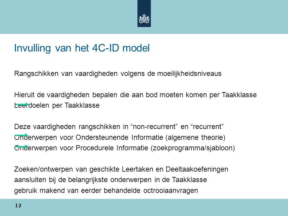 Invulling van het 4C-ID model Rangschikken van vaardigheden volgens de moeilijkheidsniveaus Hieruit de vaardigheden bepalen die aan bod moeten komen p