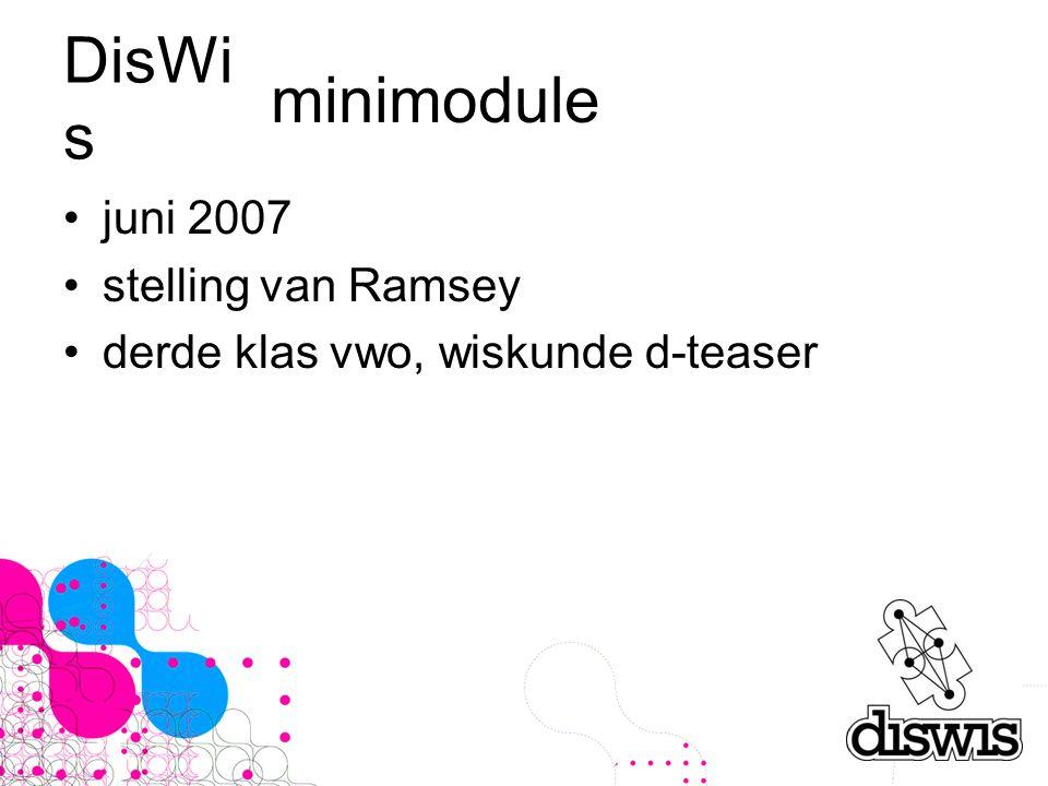 DisWi s juni 2007 stelling van Ramsey derde klas vwo, wiskunde d-teaser minimodule
