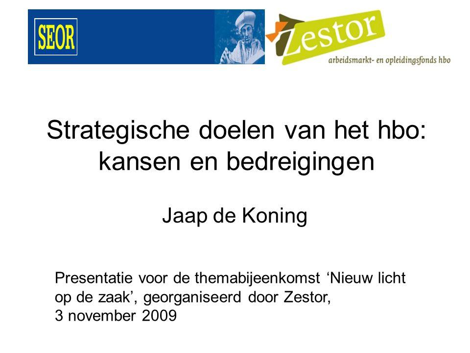 Strategische doelen van het hbo: kansen en bedreigingen Jaap de Koning Presentatie voor de themabijeenkomst 'Nieuw licht op de zaak', georganiseerd door Zestor, 3 november 2009