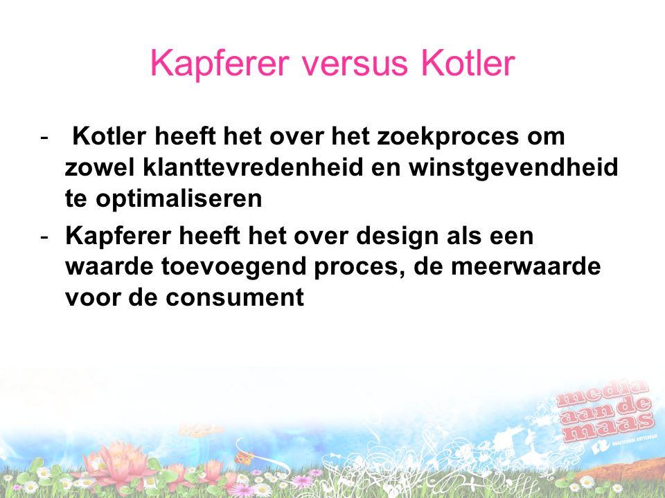 Kapferer versus Kotler - Kotler heeft het over het zoekproces om zowel klanttevredenheid en winstgevendheid te optimaliseren -Kapferer heeft het over