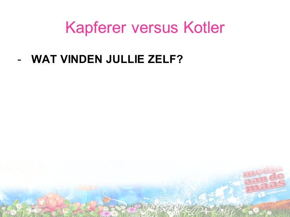 Kapferer versus Kotler - WAT VINDEN JULLIE ZELF?