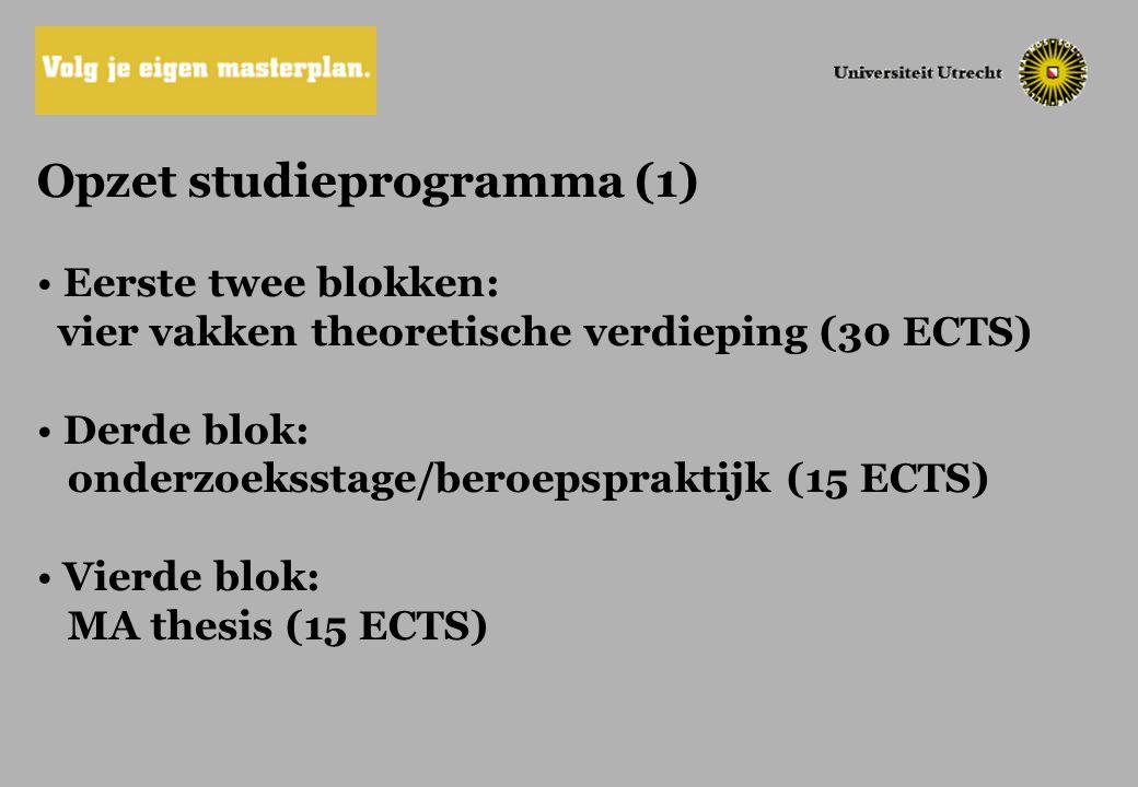 Opzet studieprogramma (1) Eerste twee blokken: vier vakken theoretische verdieping (30 ECTS) Derde blok: onderzoeksstage/beroepspraktijk (15 ECTS) Vie
