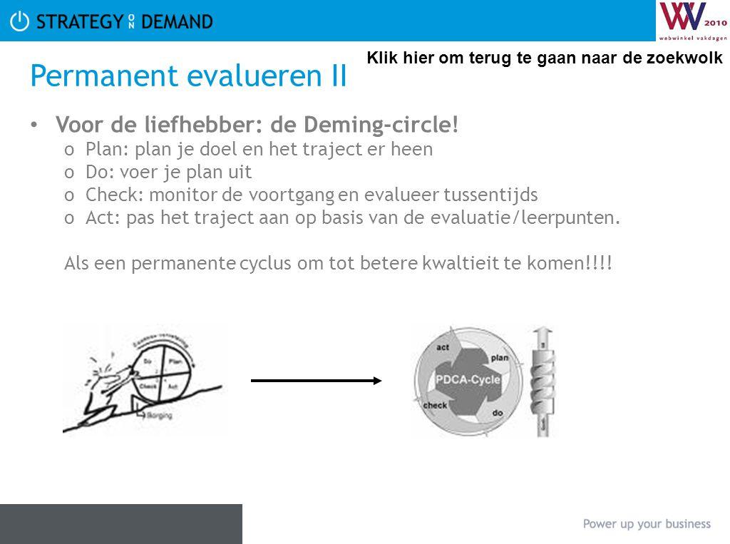 Permanent evalueren II Voor de liefhebber: de Deming-circle! oPlan: plan je doel en het traject er heen oDo: voer je plan uit oCheck: monitor de voort