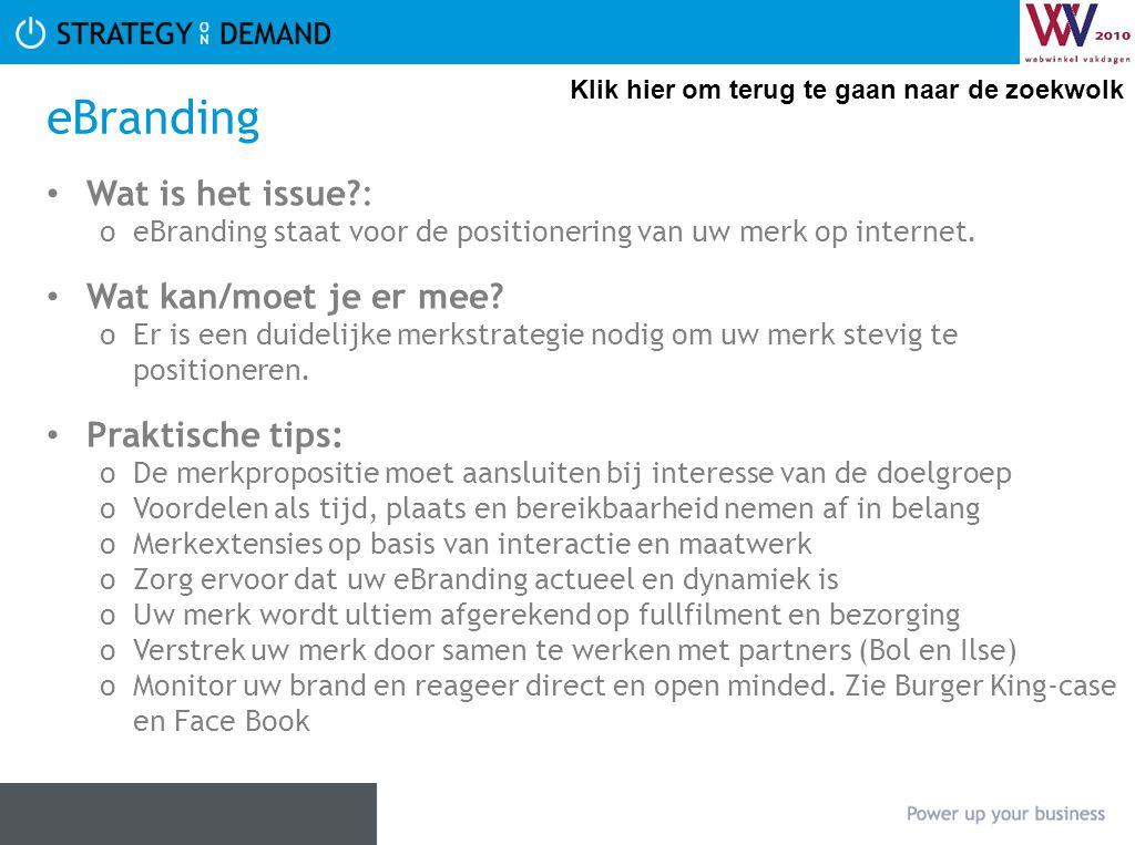 eBranding Wat is het issue?: oeBranding staat voor de positionering van uw merk op internet. Wat kan/moet je er mee? oEr is een duidelijke merkstrateg