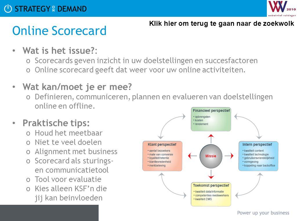 Online Scorecard Wat is het issue?: oScorecards geven inzicht in uw doelstellingen en succesfactoren oOnline scorecard geeft dat weer voor uw online a