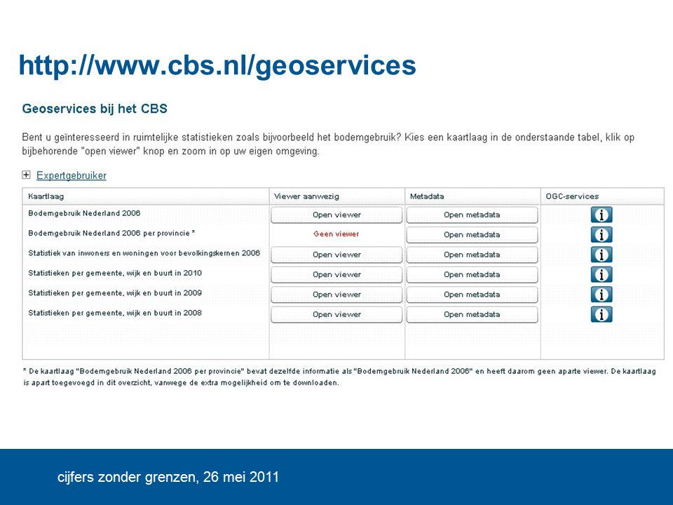 cijfers zonder grenzen, 26 mei 2011 http://www.cbs.nl/geoservices