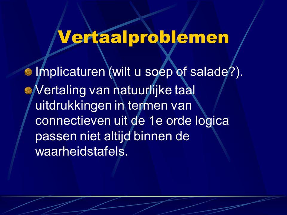 Vertaalproblemen Implicaturen (wilt u soep of salade?). Vertaling van natuurlijke taal uitdrukkingen in termen van connectieven uit de 1e orde logica