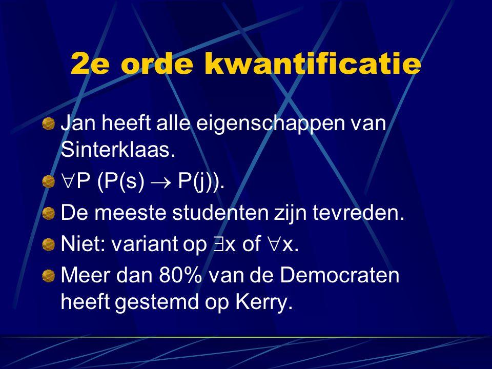 2e orde kwantificatie Jan heeft alle eigenschappen van Sinterklaas.  P (P(s)  P(j)). De meeste studenten zijn tevreden. Niet: variant op  x of  x.