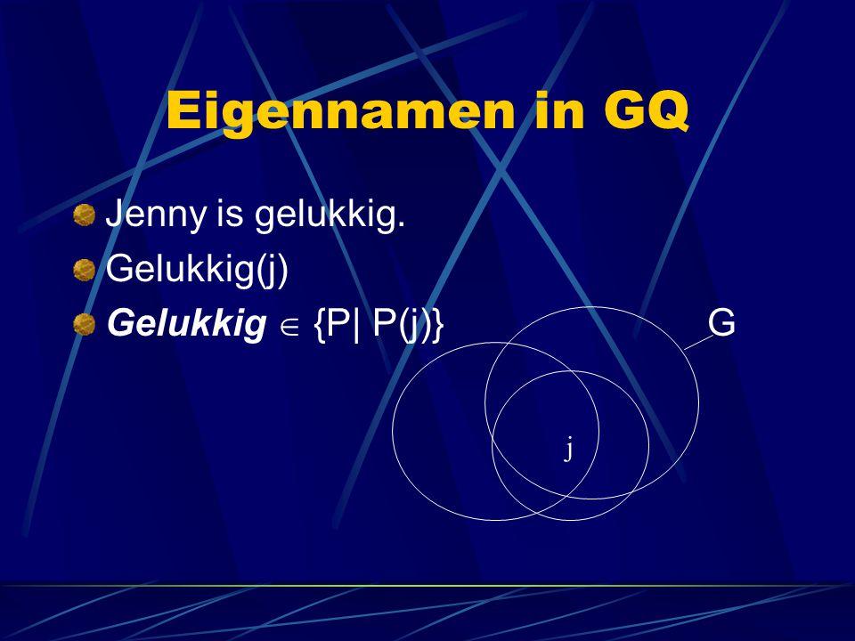 Eigennamen in GQ Jenny is gelukkig. Gelukkig(j) Gelukkig  {P| P(j)} G j