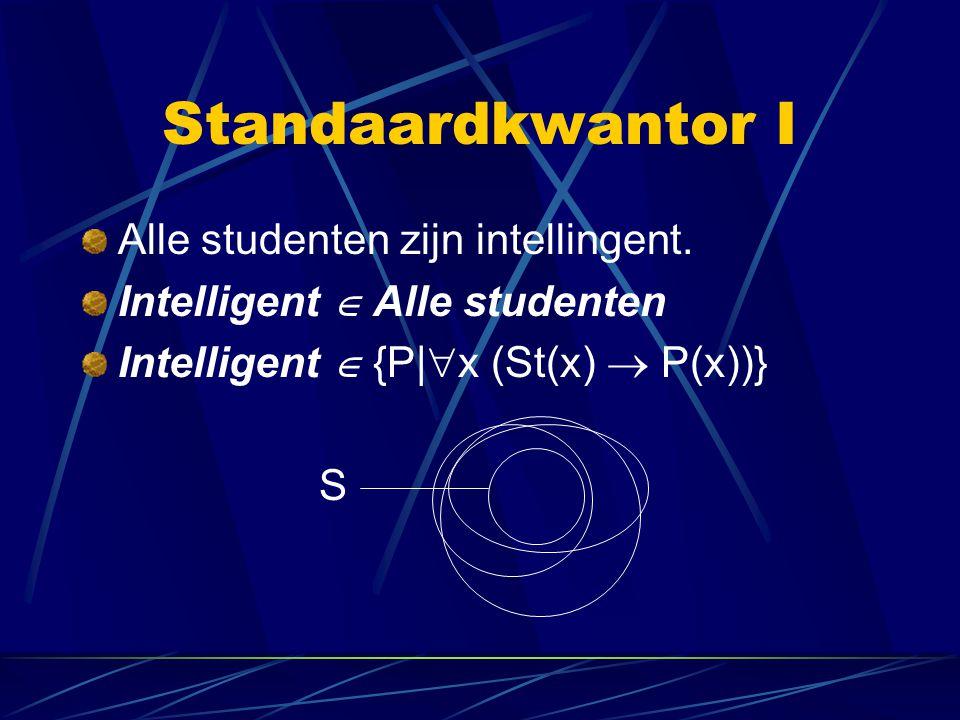 Standaardkwantor I Alle studenten zijn intellingent. Intelligent  Alle studenten Intelligent  {P|  x (St(x)  P(x))} S