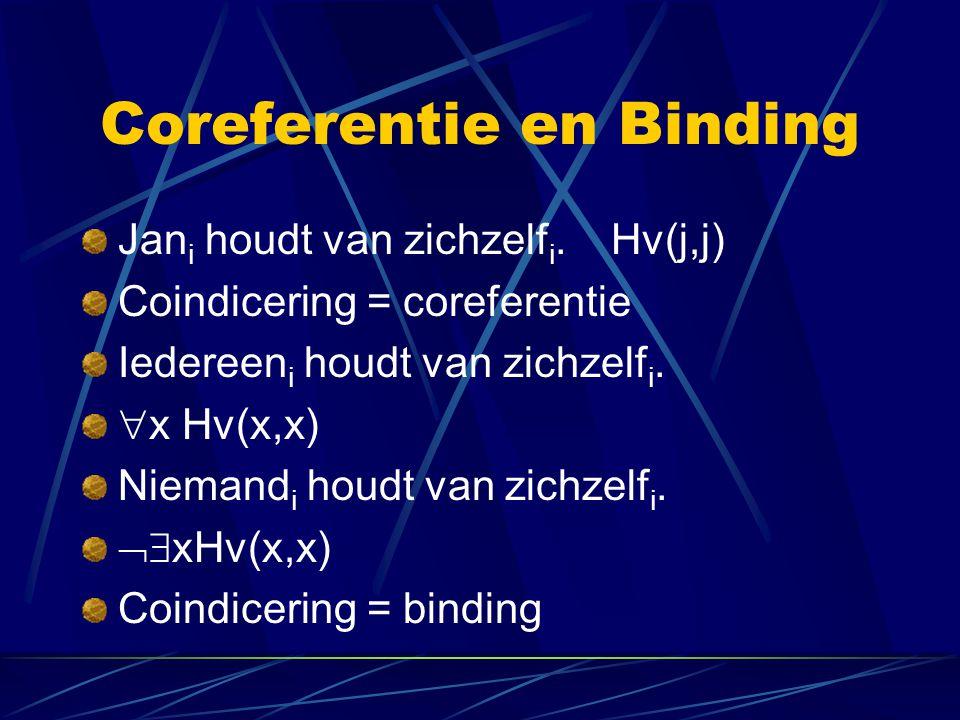 Coreferentie en Binding Jan i houdt van zichzelf i. Hv(j,j) Coindicering = coreferentie Iedereen i houdt van zichzelf i.  x Hv(x,x) Niemand i houdt v