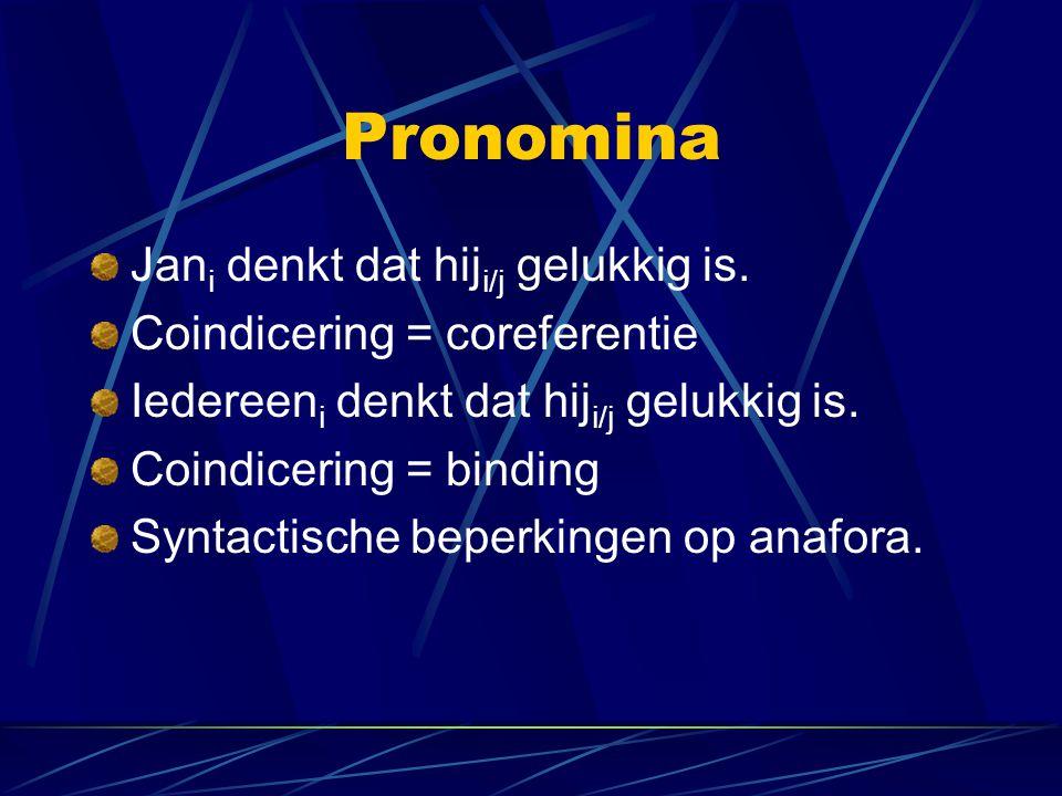 Pronomina Jan i denkt dat hij i/j gelukkig is. Coindicering = coreferentie Iedereen i denkt dat hij i/j gelukkig is. Coindicering = binding Syntactisc