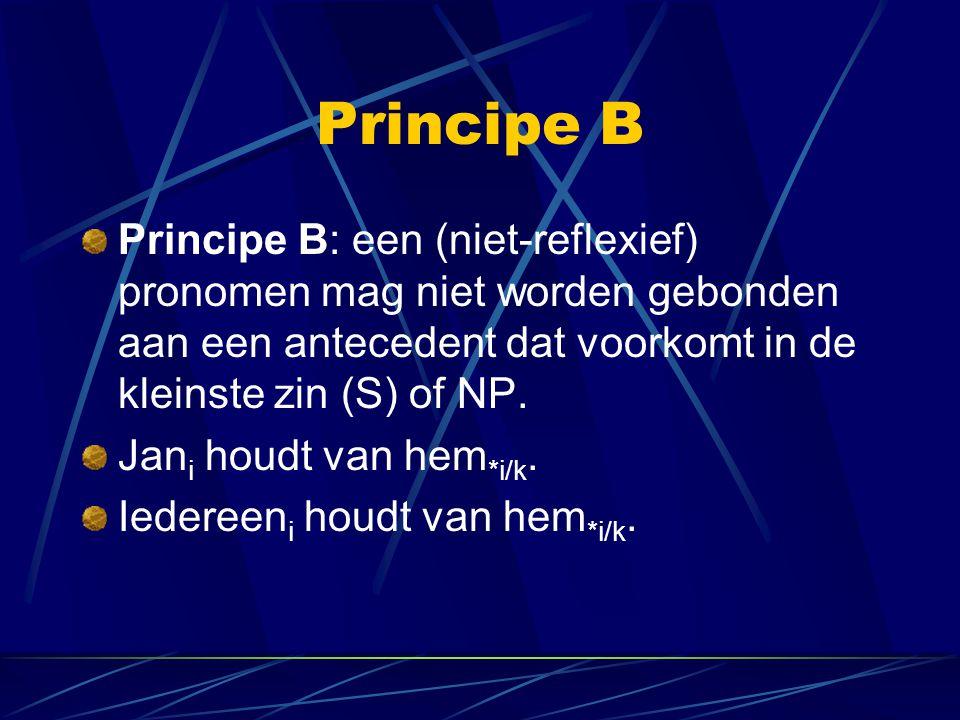 Principe B Principe B: een (niet-reflexief) pronomen mag niet worden gebonden aan een antecedent dat voorkomt in de kleinste zin (S) of NP. Jan i houd