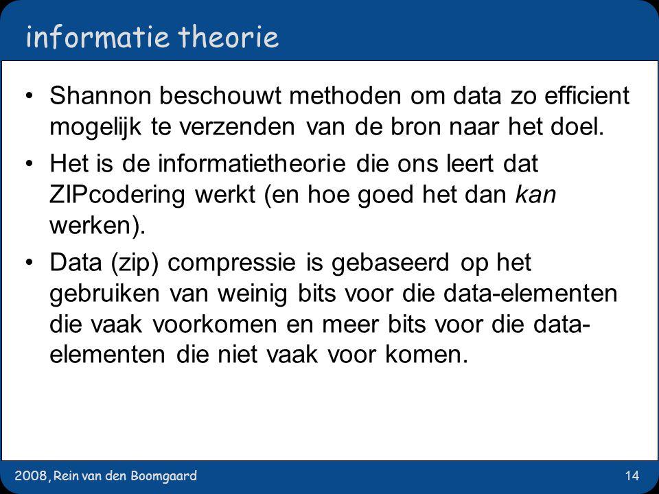 2008, Rein van den Boomgaard14 informatie theorie Shannon beschouwt methoden om data zo efficient mogelijk te verzenden van de bron naar het doel.