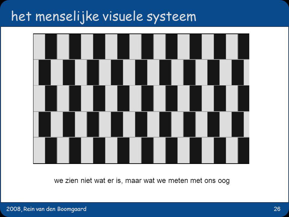 2008, Rein van den Boomgaard26 het menselijke visuele systeem we zien niet wat er is, maar wat we meten met ons oog