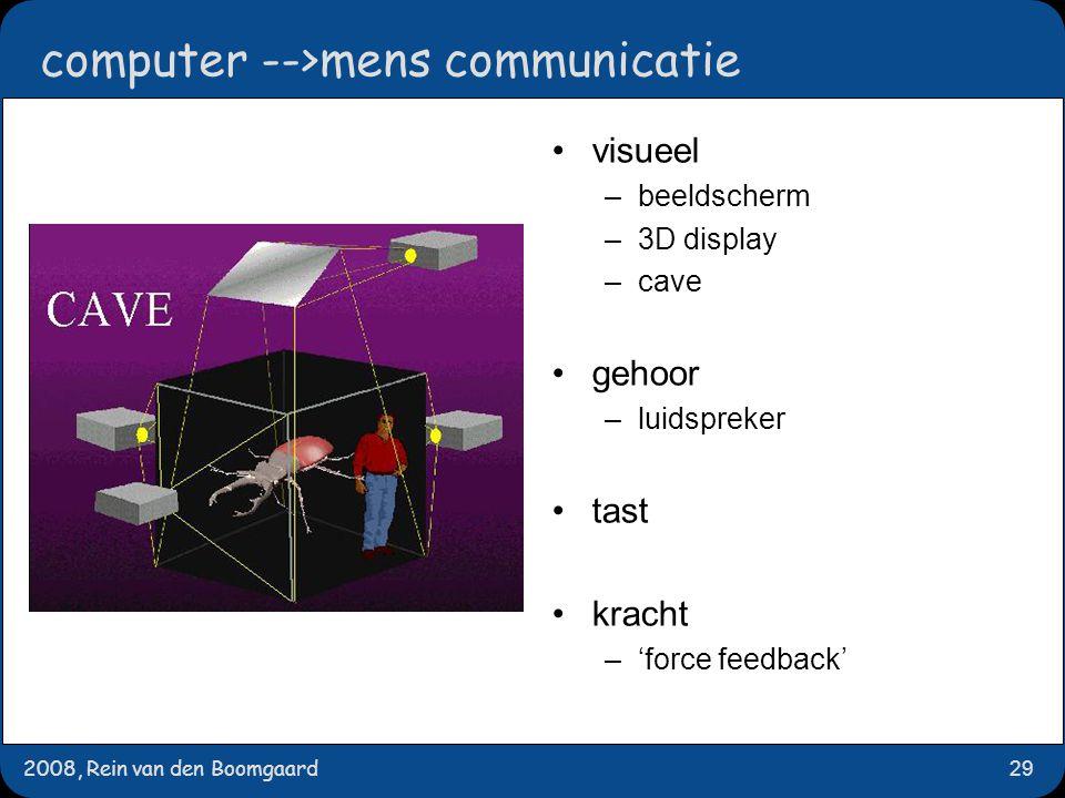2008, Rein van den Boomgaard29 computer -->mens communicatie visueel –beeldscherm –3D display –cave gehoor –luidspreker tast kracht –'force feedback'