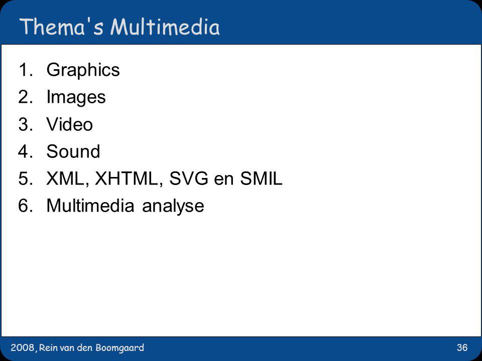 2008, Rein van den Boomgaard36 Thema's Multimedia 1.Graphics 2.Images 3.Video 4.Sound 5.XML, XHTML, SVG en SMIL 6.Multimedia analyse
