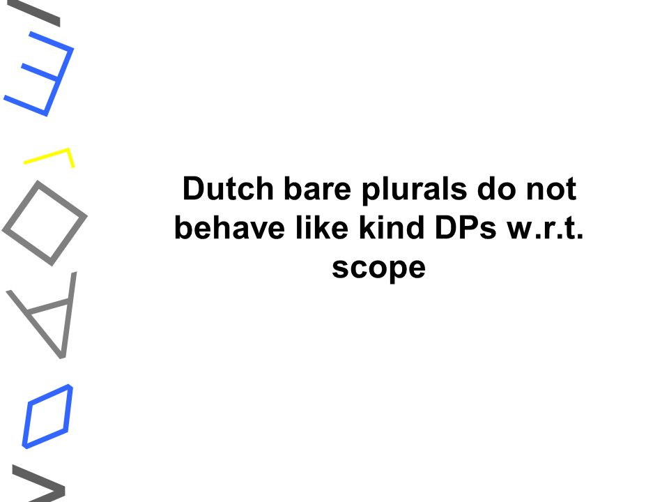 Dutch bare plurals do not behave like kind DPs w.r.t. scope    ◊ < >