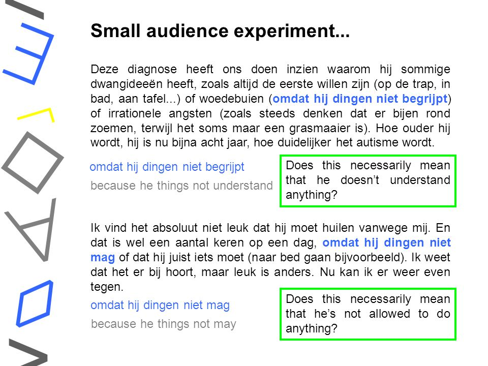    ◊ < > Small audience experiment...