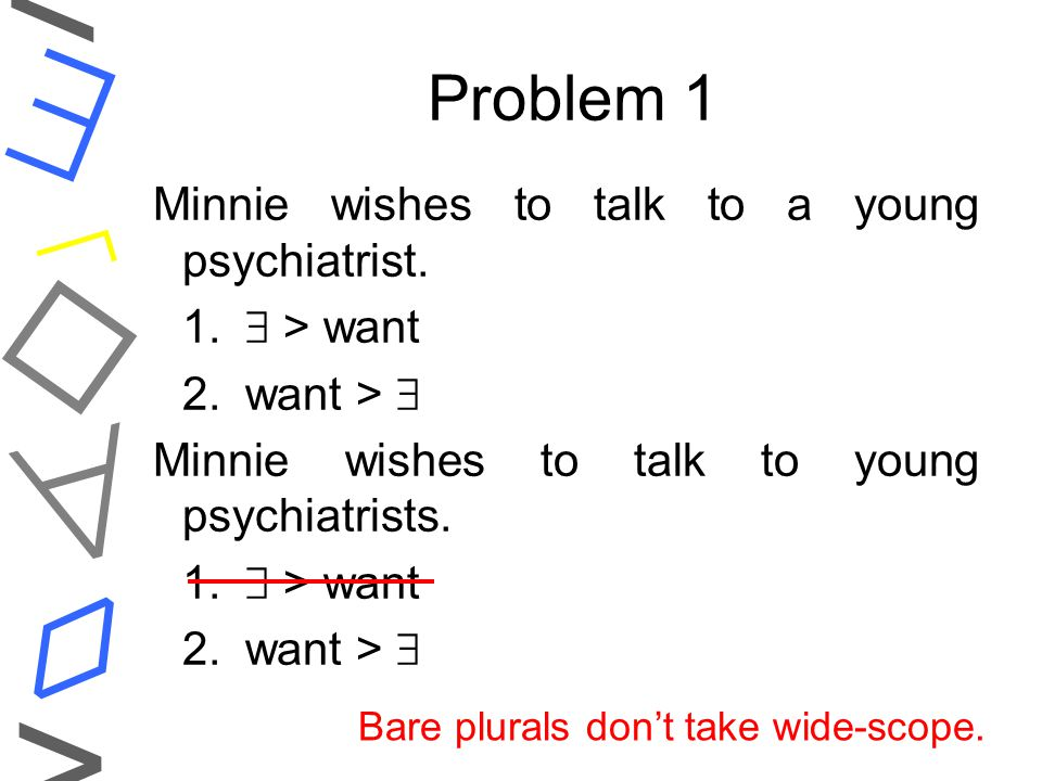    ◊ < > Step 1 'Opponents': Bare plurals behave differently w.r.t.