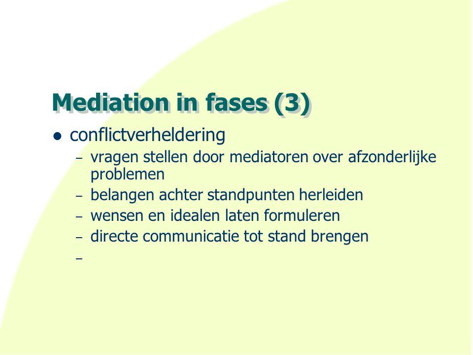 Mediation in fases (3) conflictverheldering – vragen stellen door mediatoren over afzonderlijke problemen – belangen achter standpunten herleiden – we