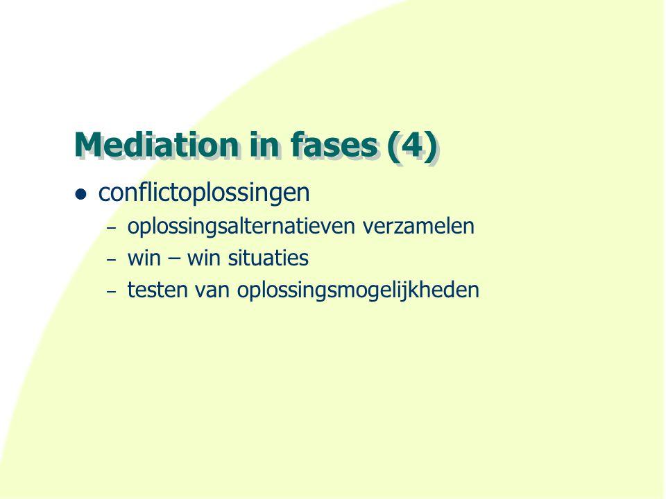 Mediation in fases (4) conflictoplossingen – oplossingsalternatieven verzamelen – win – win situaties – testen van oplossingsmogelijkheden