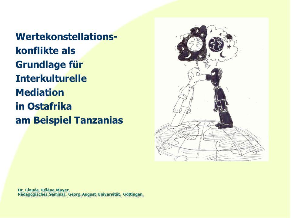 Dr. Claude-Hélène Mayer Pädagogisches Seminar, Georg-August-Universität, Göttingen Wertekonstellations- konflikte als Grundlage für Interkulturelle Me