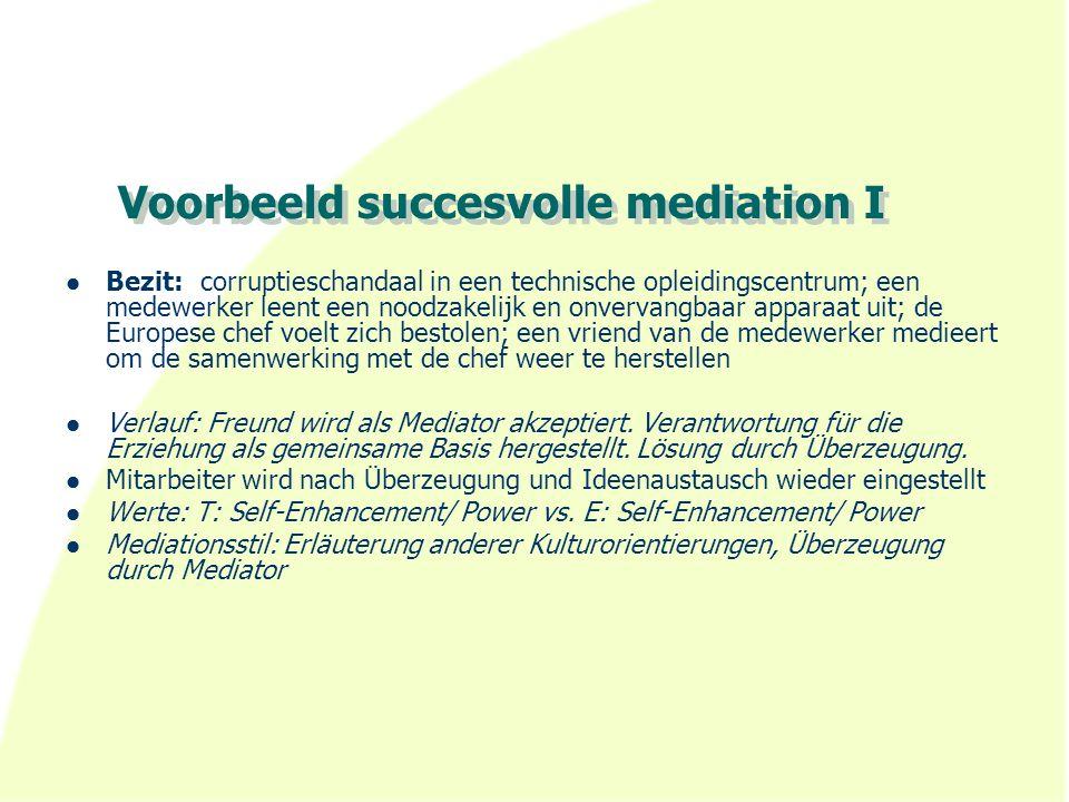 Voorbeeld succesvolle mediation I Bezit: corruptieschandaal in een technische opleidingscentrum; een medewerker leent een noodzakelijk en onvervangbaa