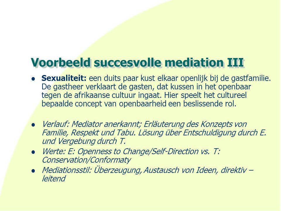 Voorbeeld succesvolle mediation III Sexualiteit: een duits paar kust elkaar openlijk bij de gastfamilie. De gastheer verklaart de gasten, dat kussen i