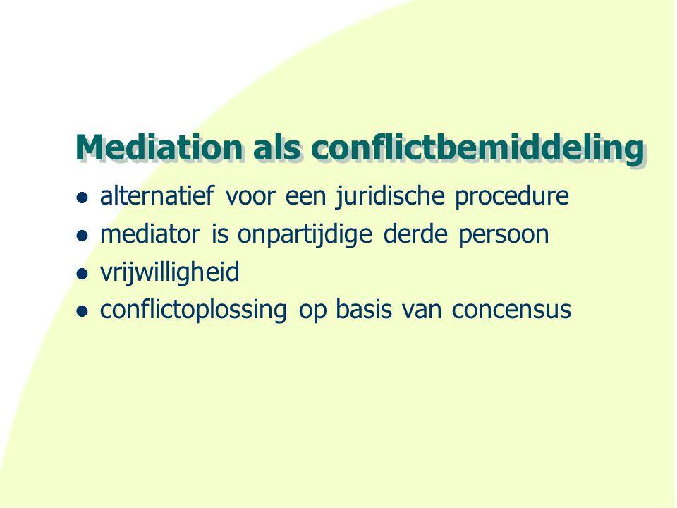 Mediation als conflictbemiddeling alternatief voor een juridische procedure mediator is onpartijdige derde persoon vrijwilligheid conflictoplossing op